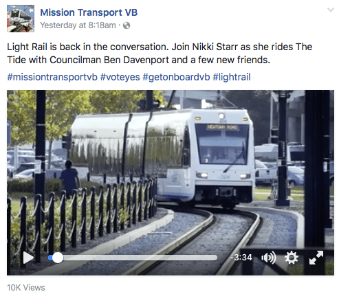 This is a Facebook post by Mission Transport VB, which recently released a video about light rail. Mission Transport VB is part of the marketing efforts of Light Rail Now, though this is not clear to the public viewing its work.