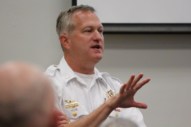 Emergency Medical Services Chief Ed Brazle spoke during the Thursday, Aug. 25, forum for the Princess Anne District hosted by City Councilmember Barbara Henley. [John-Henry Doucette/ The Princess Anne Independent News]