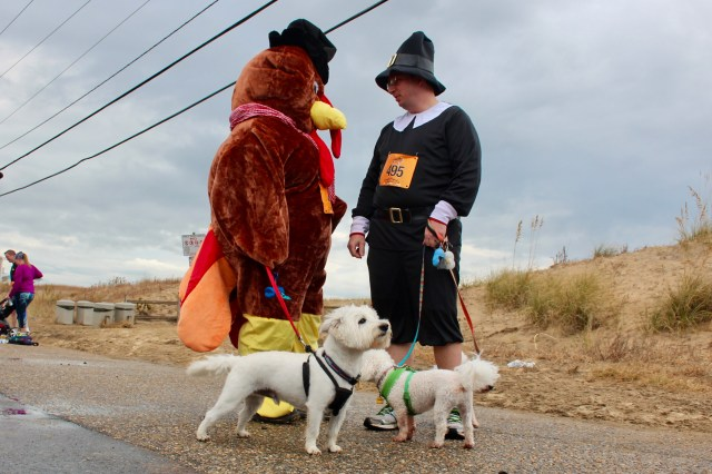 Phoenix Carolina, in the turkey suit, and Don Swain of Kempsville are seen with their dogs, Ralphie, Reggie and Ozzie. [John-Henry Doucette/The Princess Anne Independent News]