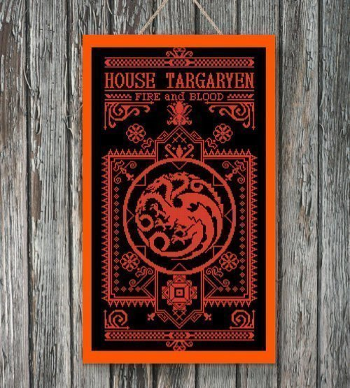 House Targaryen Cross Stitch Banner
