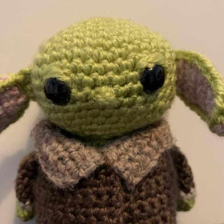 Close up of Baby Yoda