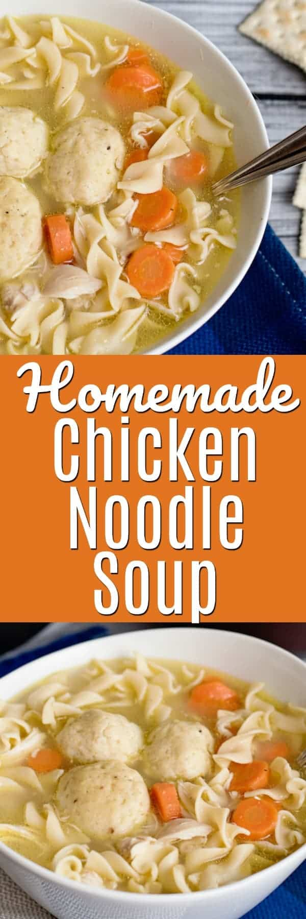 Jewish holiday, Friday night dinner, feeling under the weather or just because - Chicken Soup is always our family favorite! Just like my grandma used to make, this homemade chicken noodle soup, with Matzo Balls and Egg Noodles, is easy enough for even the most cooking challenged! #chickensoup #chickennoodle #chickennoodlesoup #matzo #matzoballsoup #matzoball #homemade #grandmasrecipe #jewish #jewishcooking #jewishrecipe #shabbat