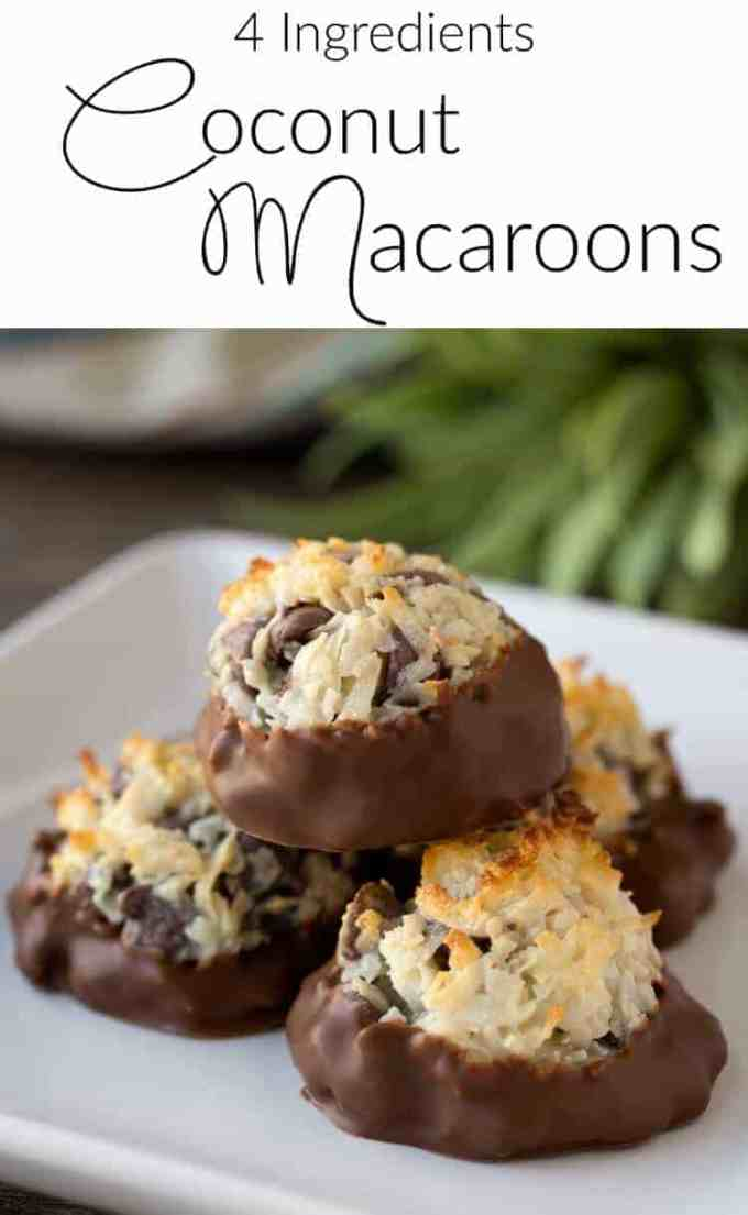 Chocolate Dipped Coconut Chocolate Chip Macaroon Recipe on a white plate