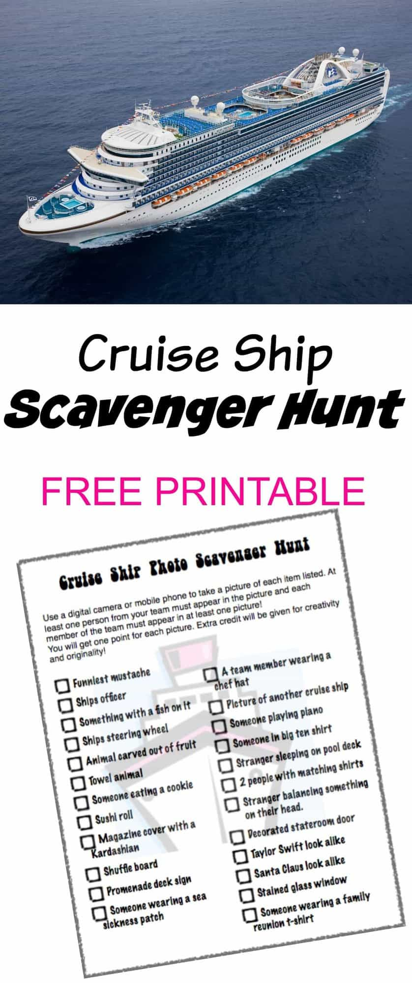 Cruise Ship Scavenger Hunt FREE PRINTABLE Princess