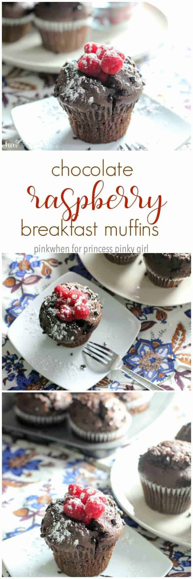 What's not to love about a chocolate muffin for breakfast? These chocolate raspberry breakfast muffins are one of my favorite weekend cheats. They are super moist, loaded with chocolate chips, and topped with raspberries and a sprinkle or two of powdered sugar.