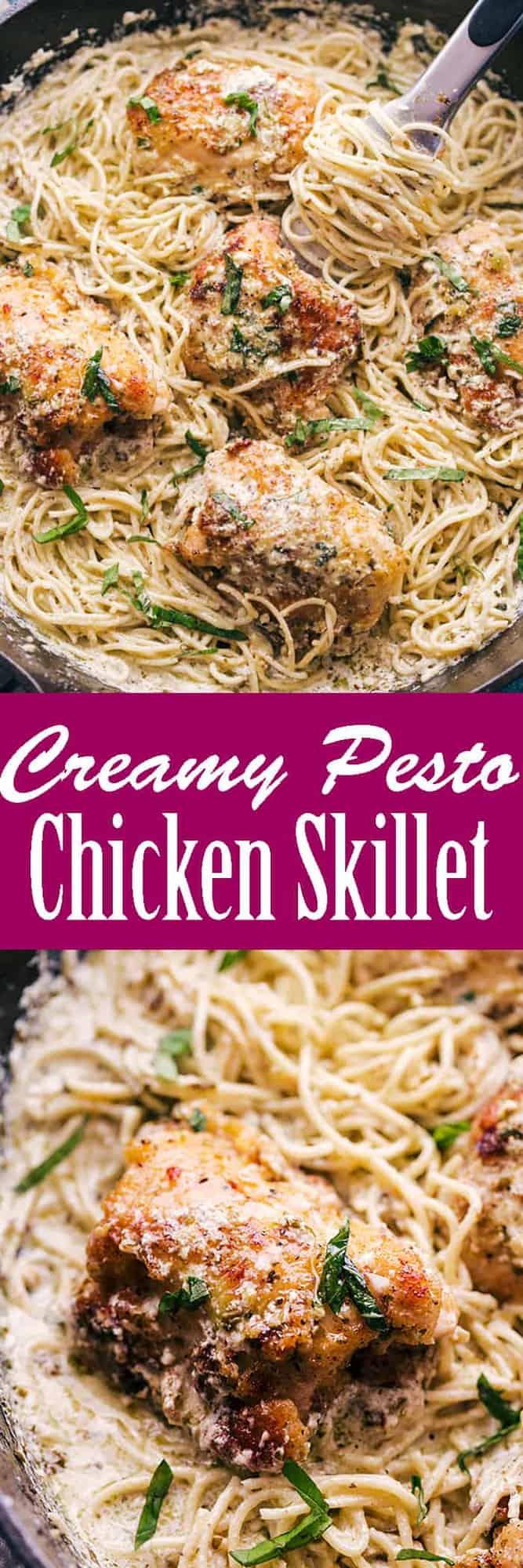 Creamy Pesto Chicken Skillet pinterest