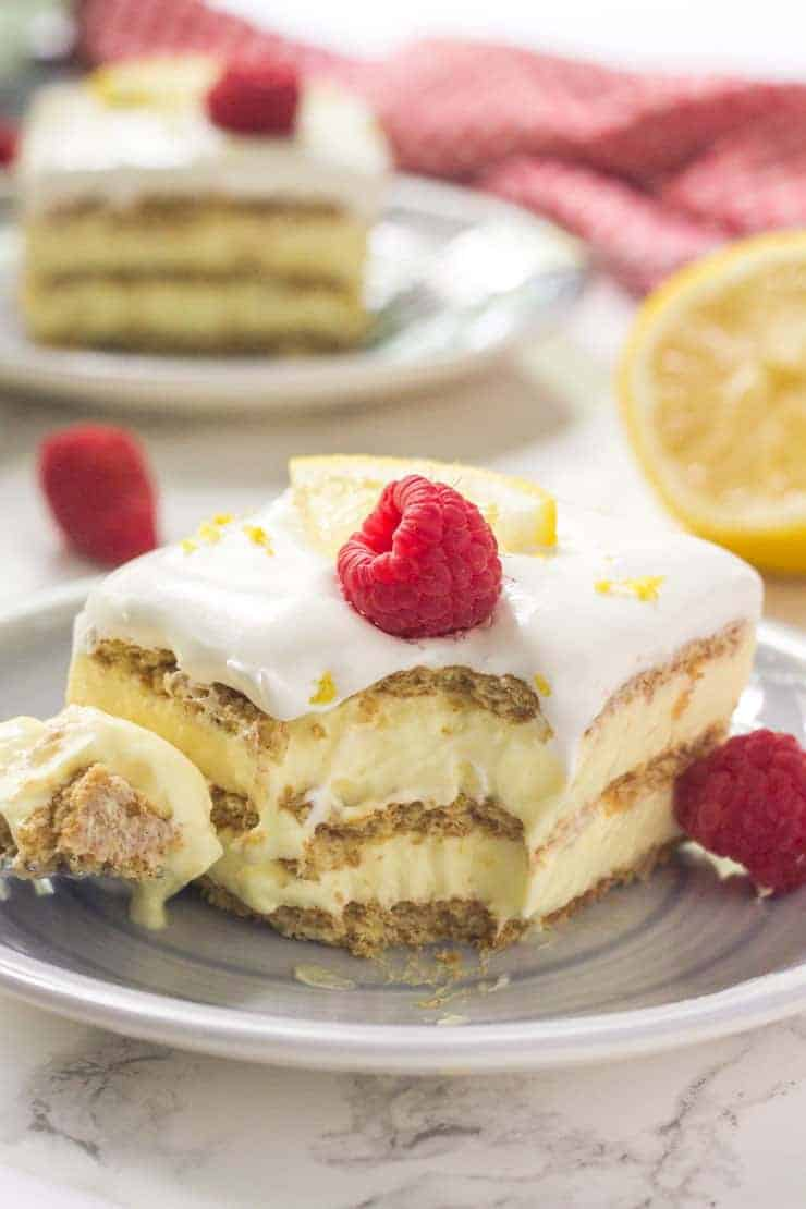 lemon icebox cake with a bite out of it