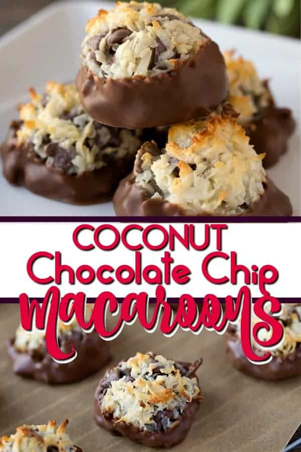 This Chocolate Dipped Coconut Chocolate Chip Macaroon Recipe makes the most sweet and chewy dessert with only 4 ingredients