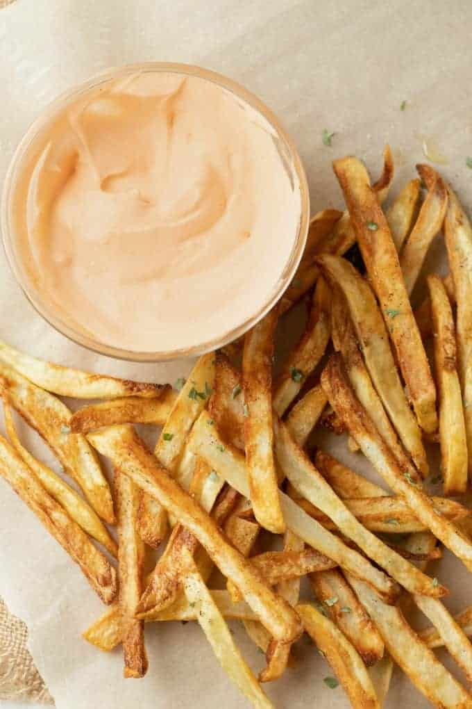 air fryer french fries and buffalo dipping sauce