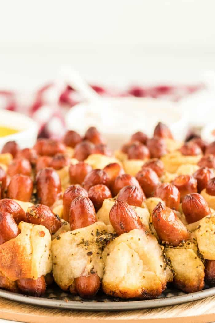 Pull apart pigs in a blanket close up