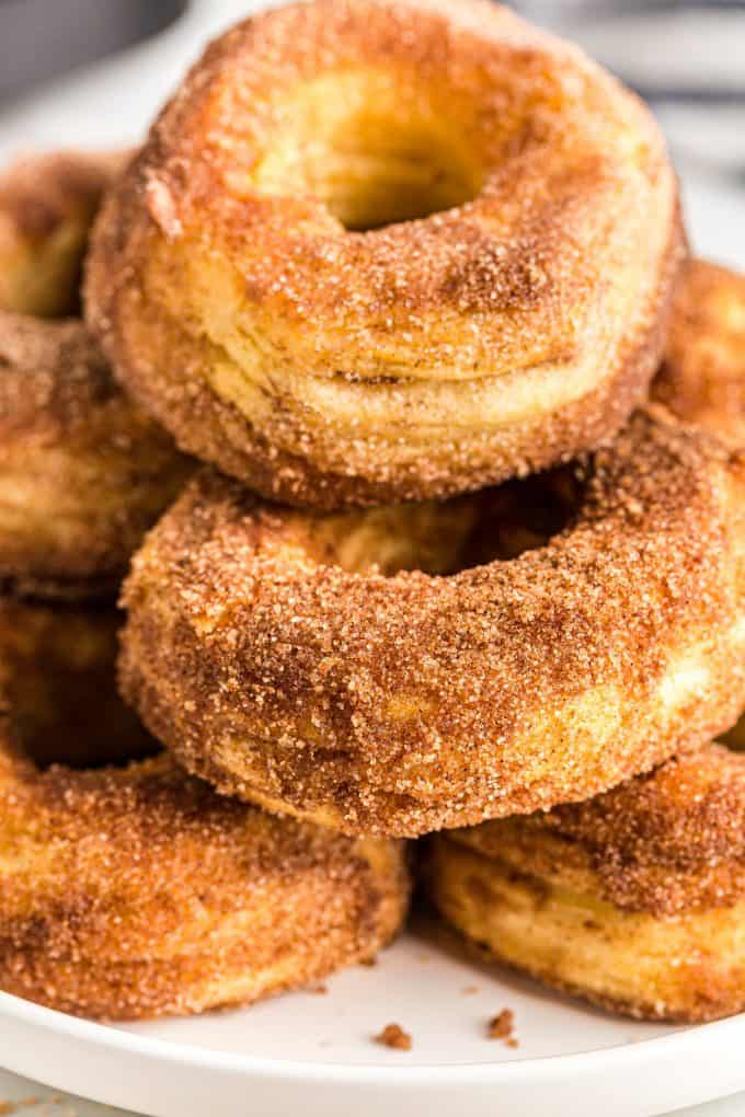 Air fryer donuts stacked