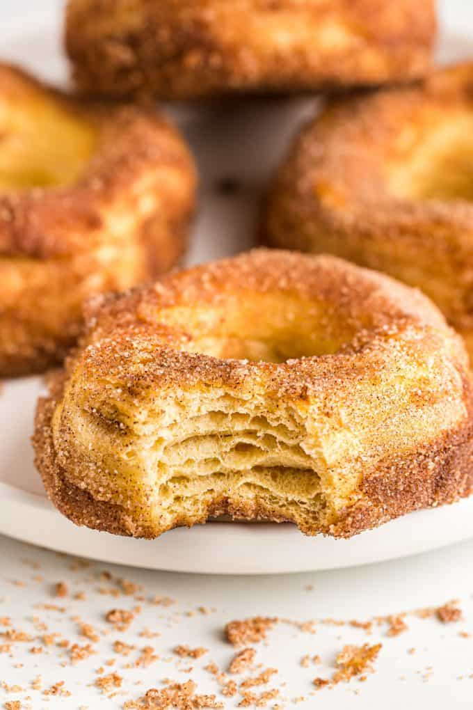 Air Fryer Cinnamon Donut with a bite