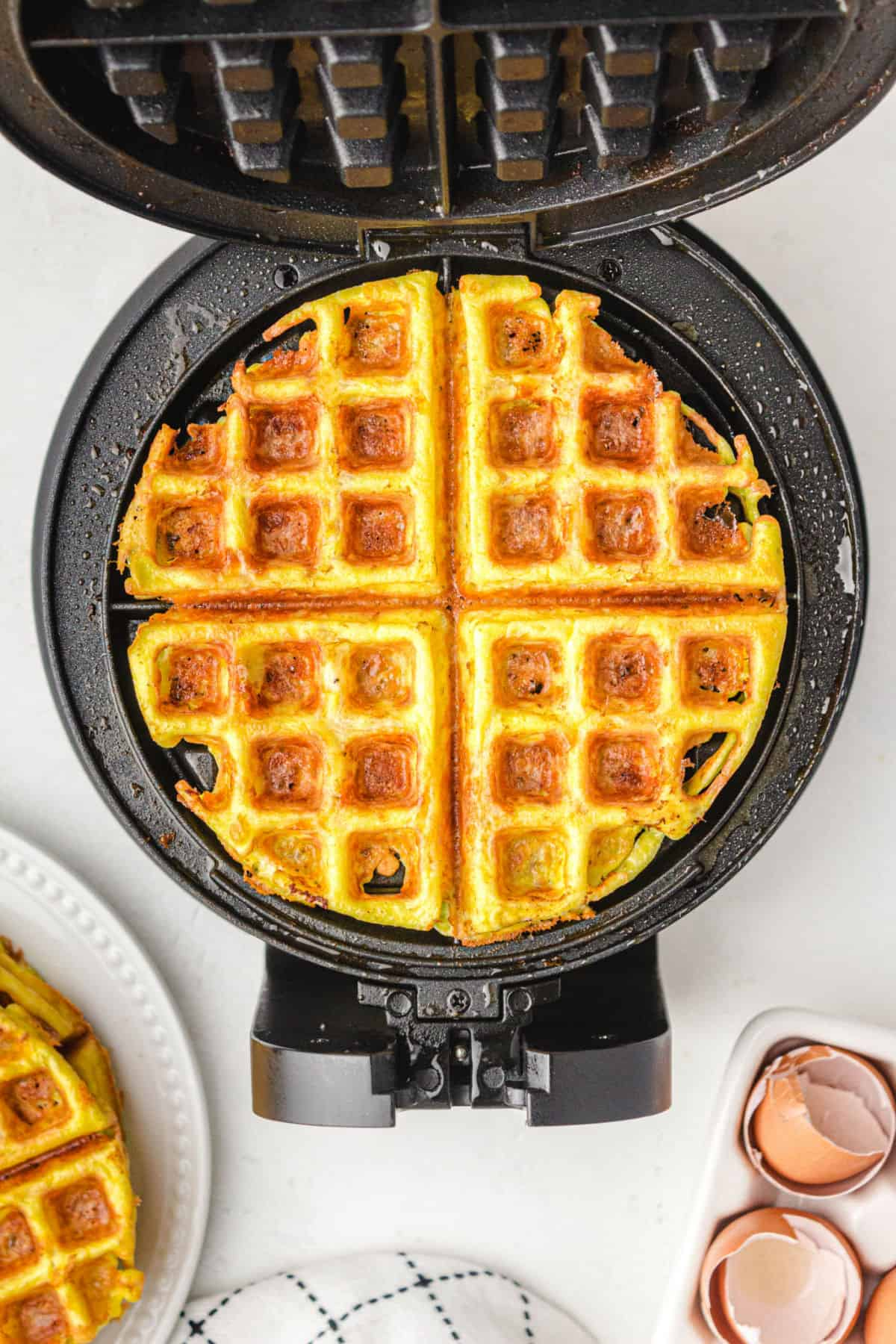 Chaffle in the waffle iron