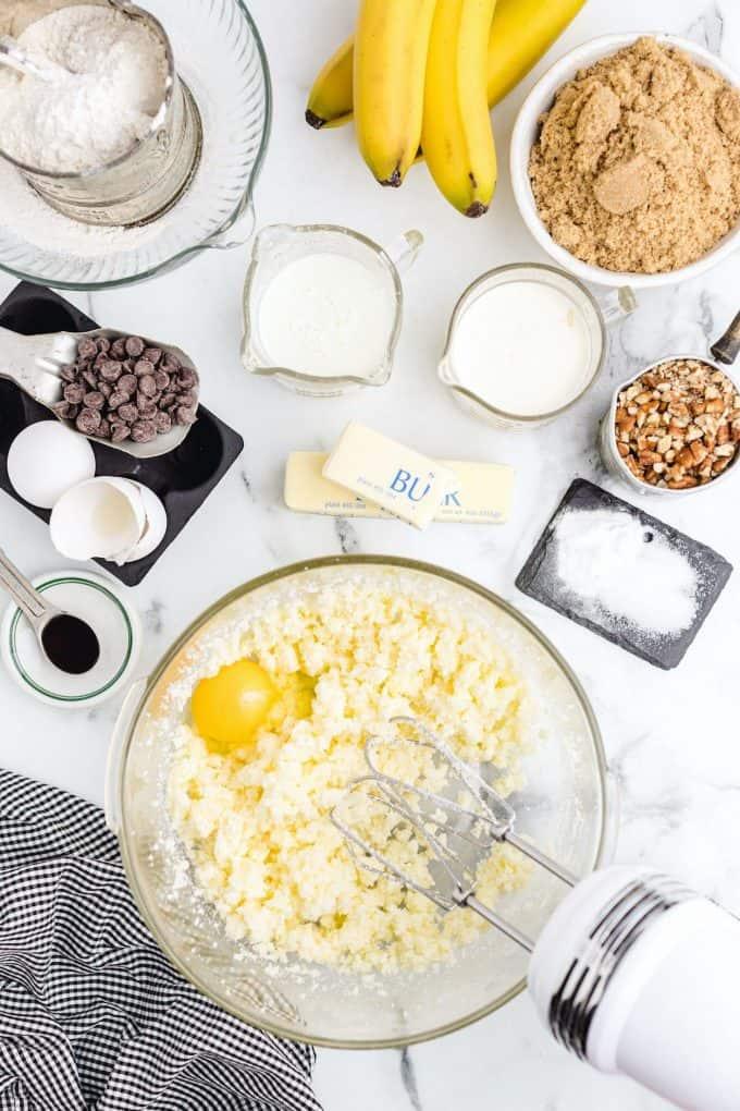 Butter, sugar mixed
