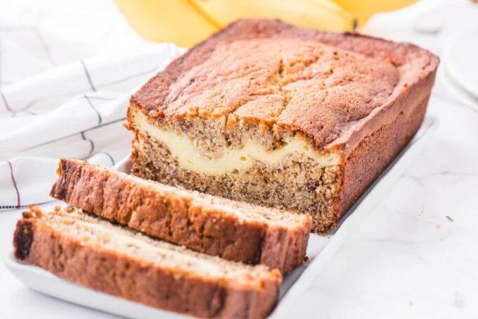 sliced cream cheese banana bread