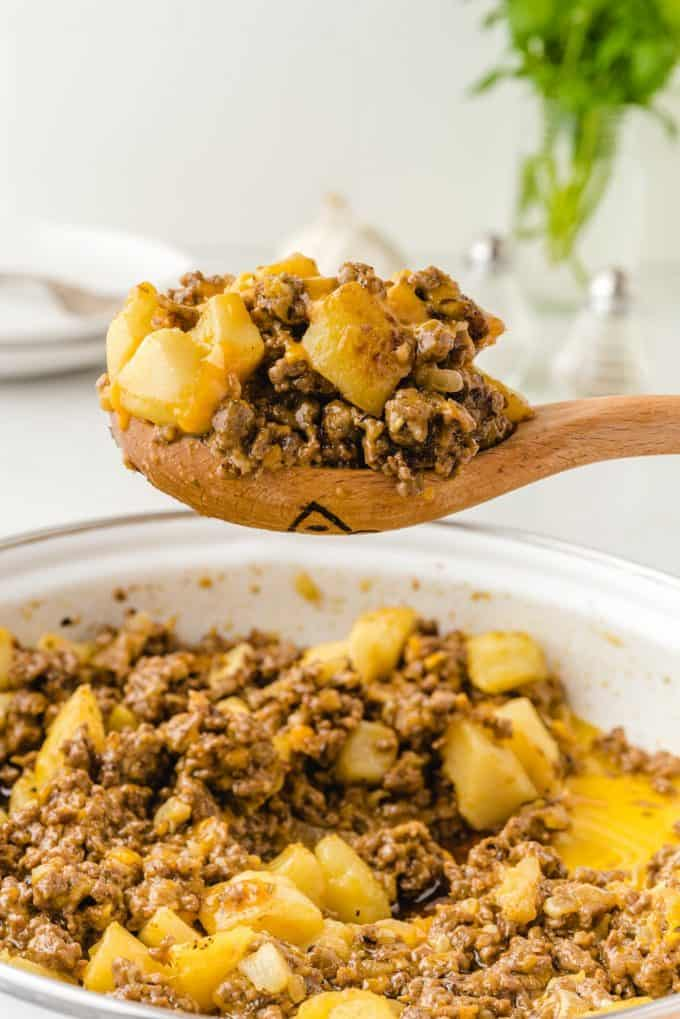 Hamburger hash in a wooden spoon