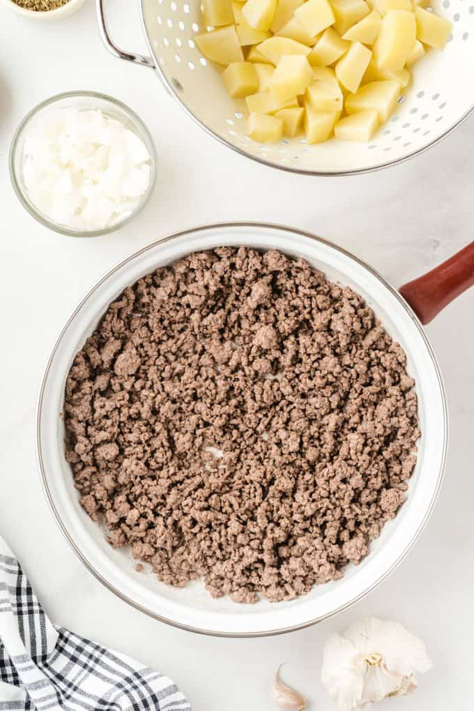 boiled ground beef in a pan