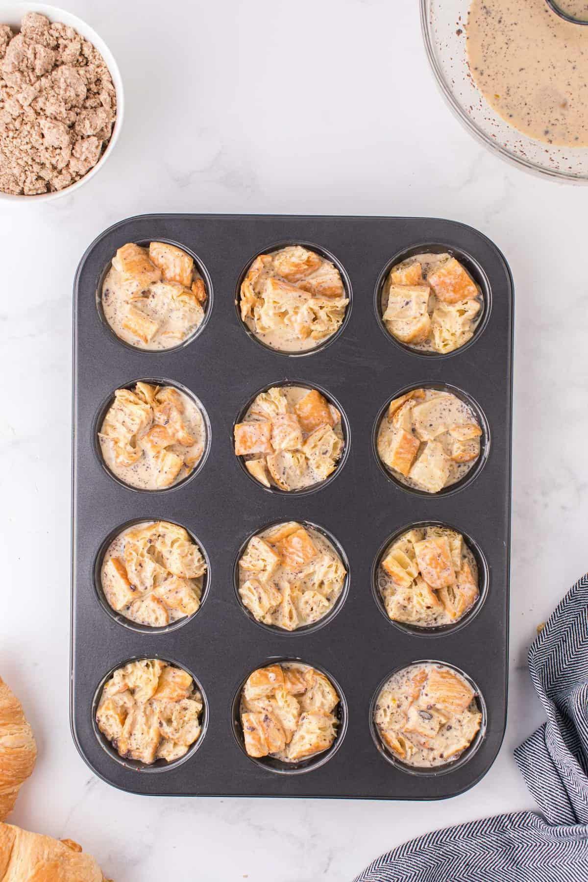 Pour the mixture into the muffin pans
