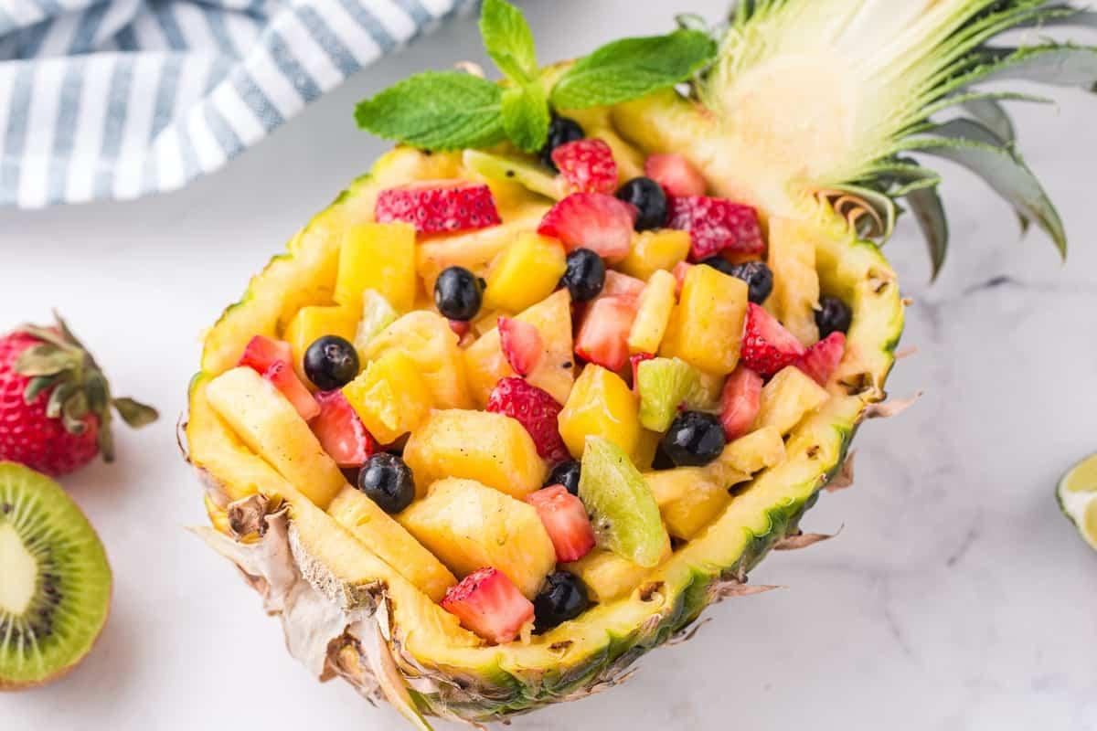 Pineapple fruit salad in pineapple