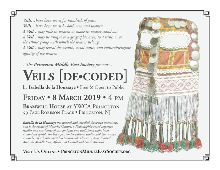 PMES flyer for illustrated talk by Isabella de la Houssaye entitled Veils [De-Coded]