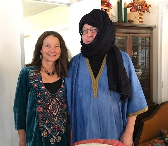 Ms. de la Houssaye and guest dressed in Tuareg Costume