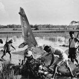Drugovi rastavljaju američki avion zbog delova, nakon što su ga oborili u blizini Hanoja.