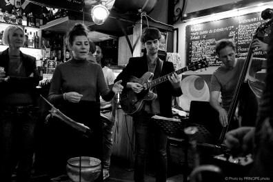 Sous Les Étoiles @ Les Amis Martin Dahanukar, trumpet Michael Haudenschild, keys Dimitri Howald, guitar Philipp Moll, double-bass © 23.04.2018 Patrick Principe