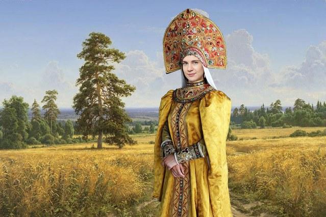 Русская красавица, древний наряд
