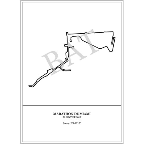Aperçu de l'affiche représentant le tracé du marathon de Miami 2018 par Print Your Race