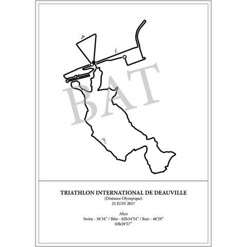Aperçu de l'affiche représentant le tracé du triathlon international de Deauville 2017 par Print Your Race