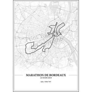 Aperçu de l'affiche réalisée en collaboration avec le cartographe représentant le tracé du marathon de Bordeaux 2018