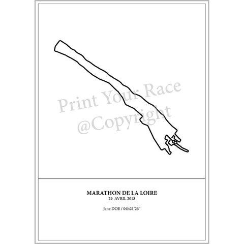Aperçu de l'affiche représentant le tracé du marathon de Saumur en 2018 par Print Your Race