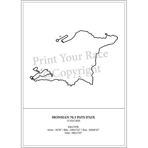 Aperçu de l'affiche représentant le tracé de l'half IronMan d'Aix 2018 par Print Your Race