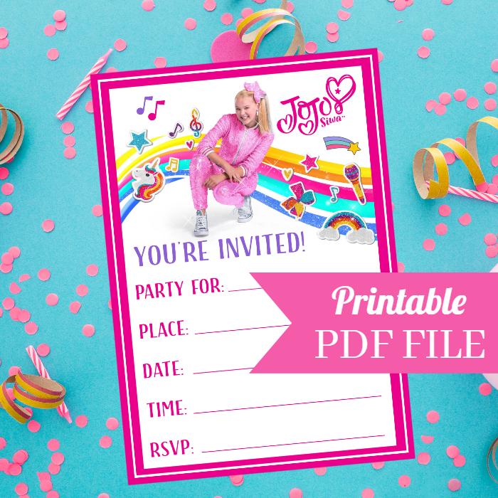 jojo siwa birthday party invitations