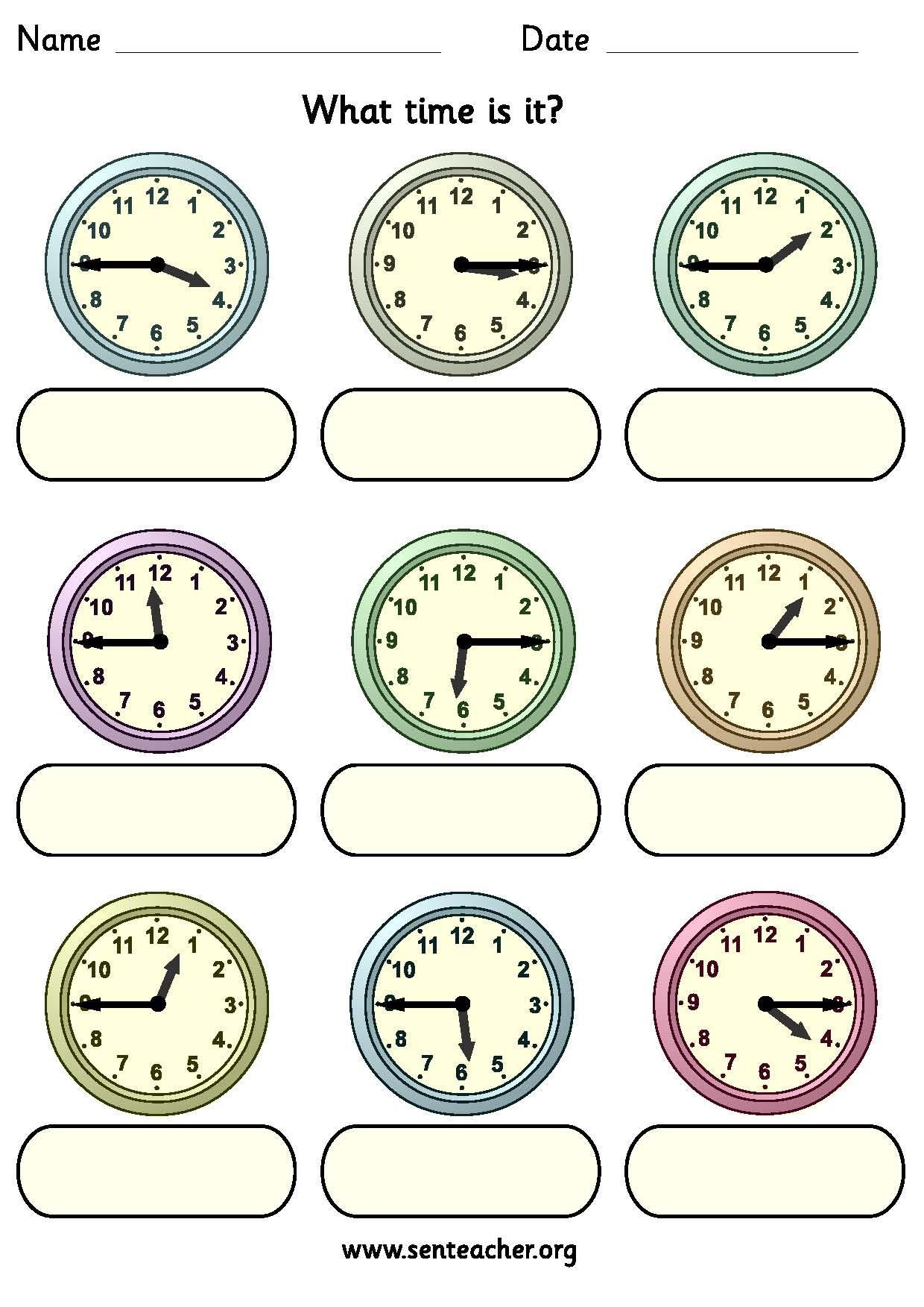 Worksheet Containing 9ogue Clocks Showing Quarter To
