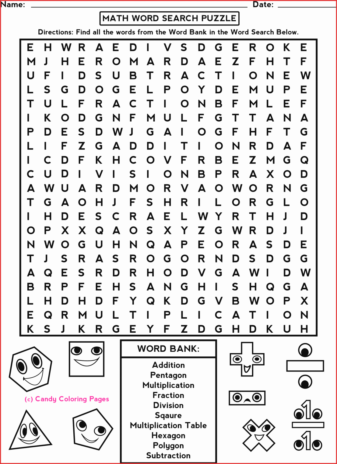 Printable Crossword Puzzles For 3rd Graders