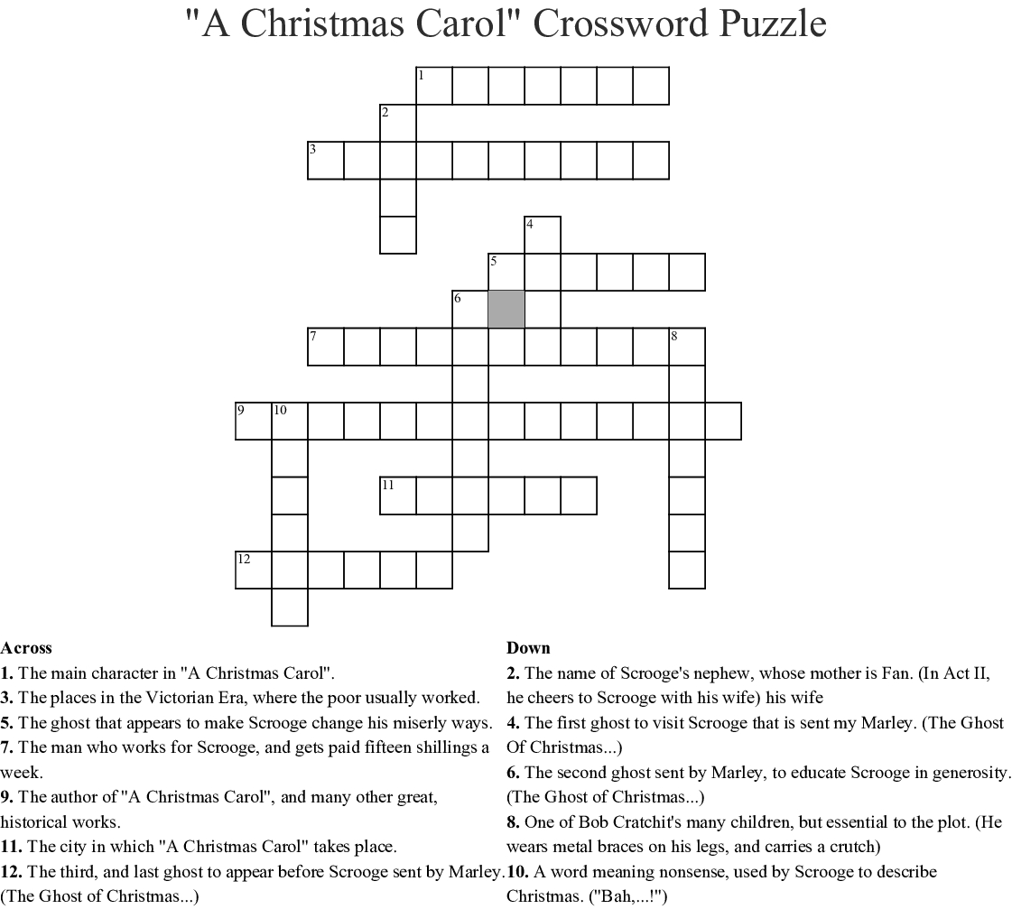 A Christmas Carol Crossword Printable