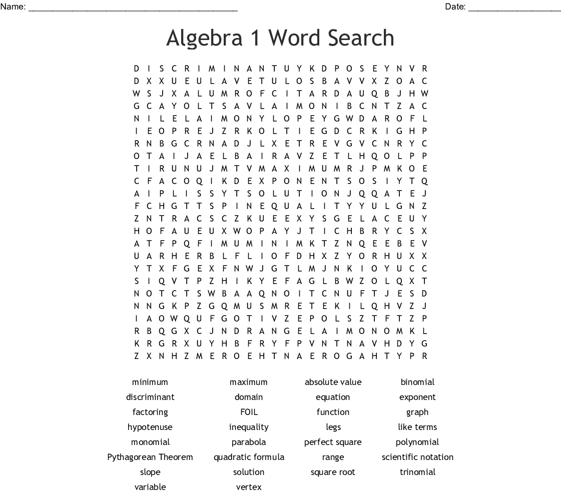 Algebra 1 Crossword Puzzles Printable