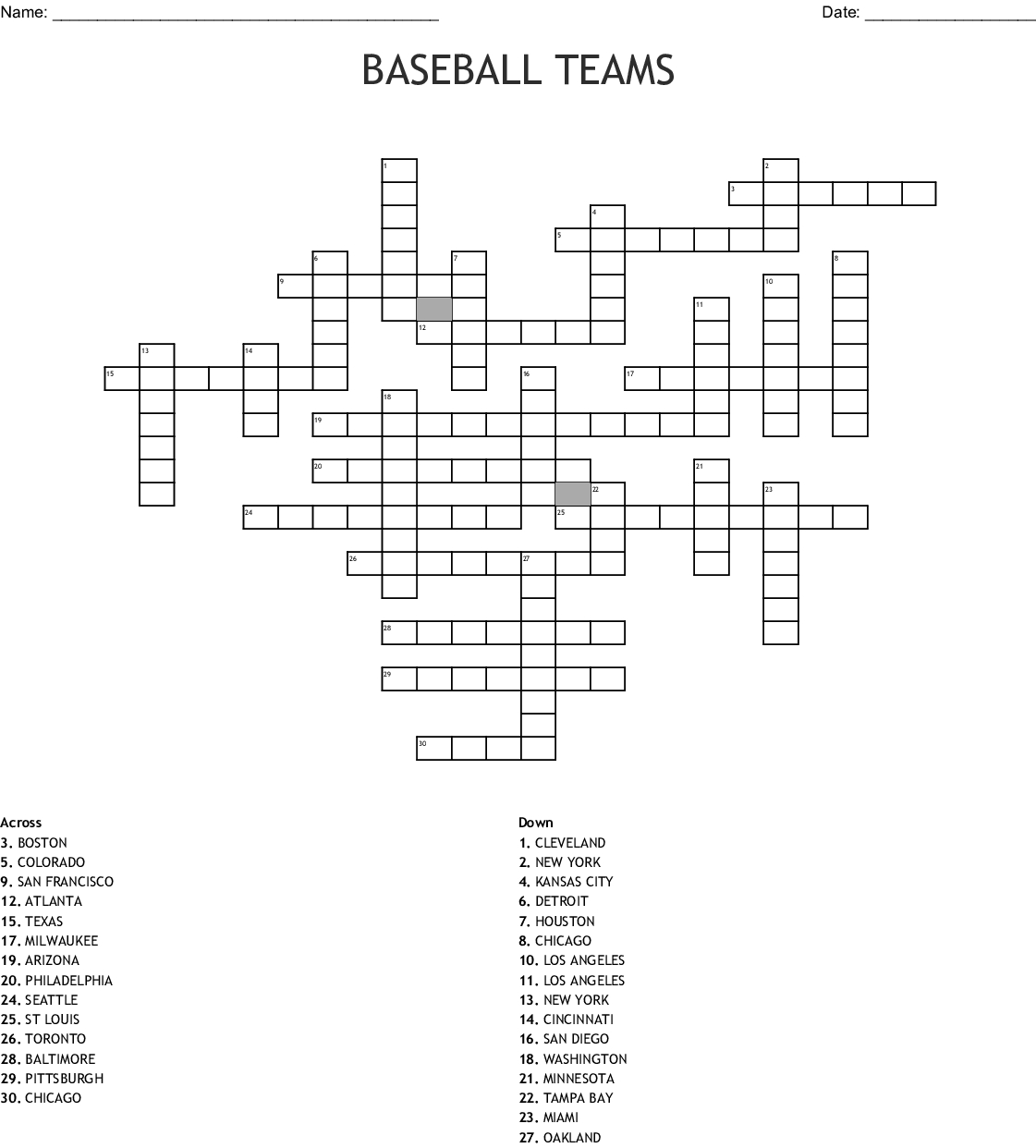 Printable Baseball Crossword Puzzles