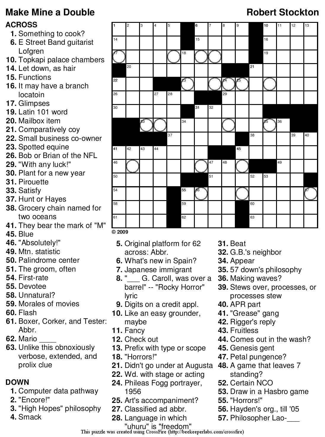 Challenging Crossword Puzzles Printable