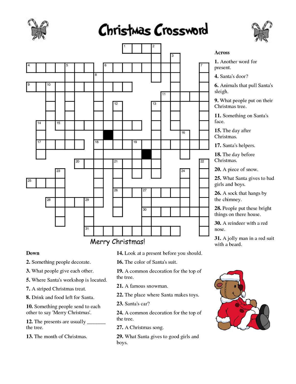 Christmas Crossword Puzzle Worksheet