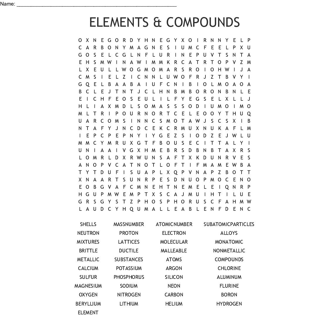 Printable Compound Word Crossword Puzzle