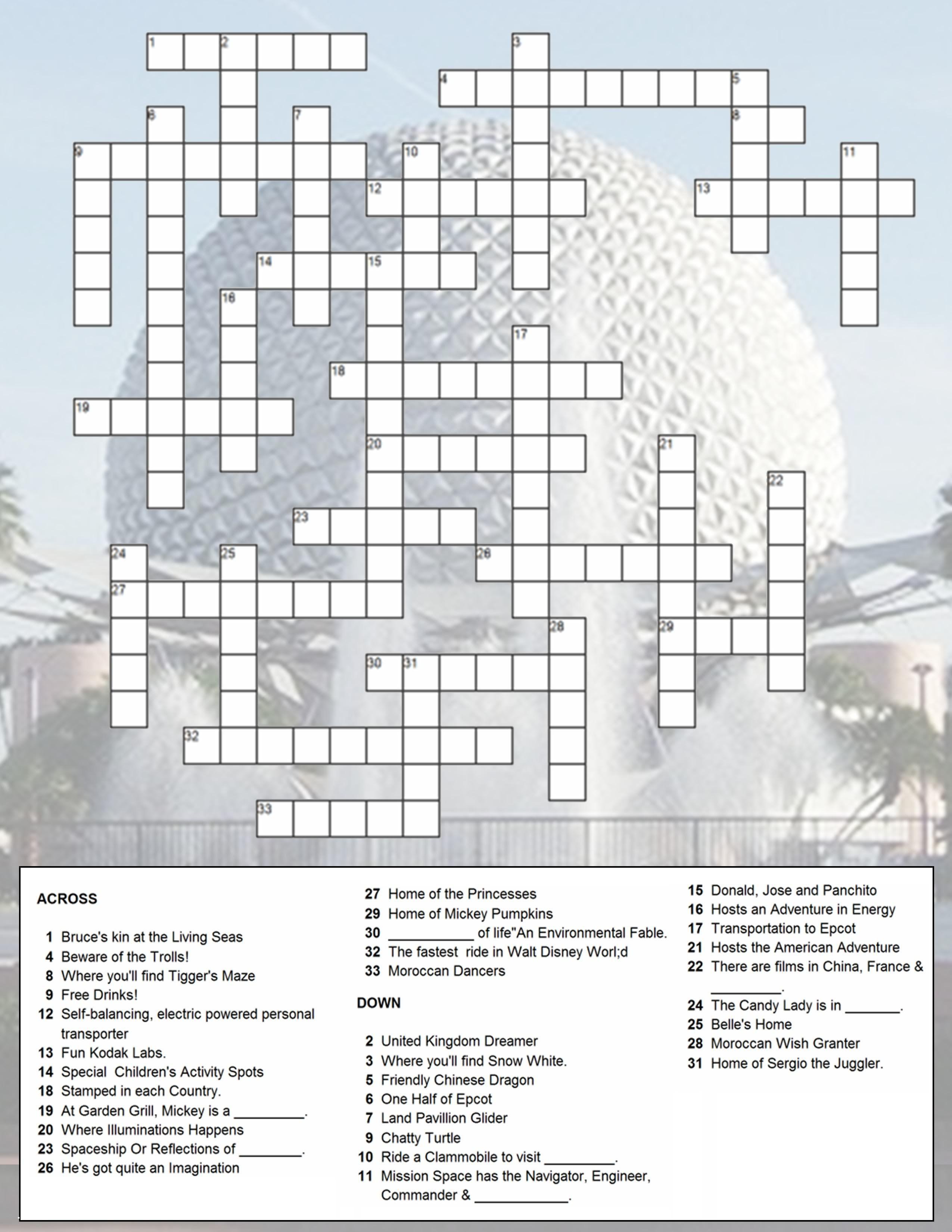 Printable Crossword Disney