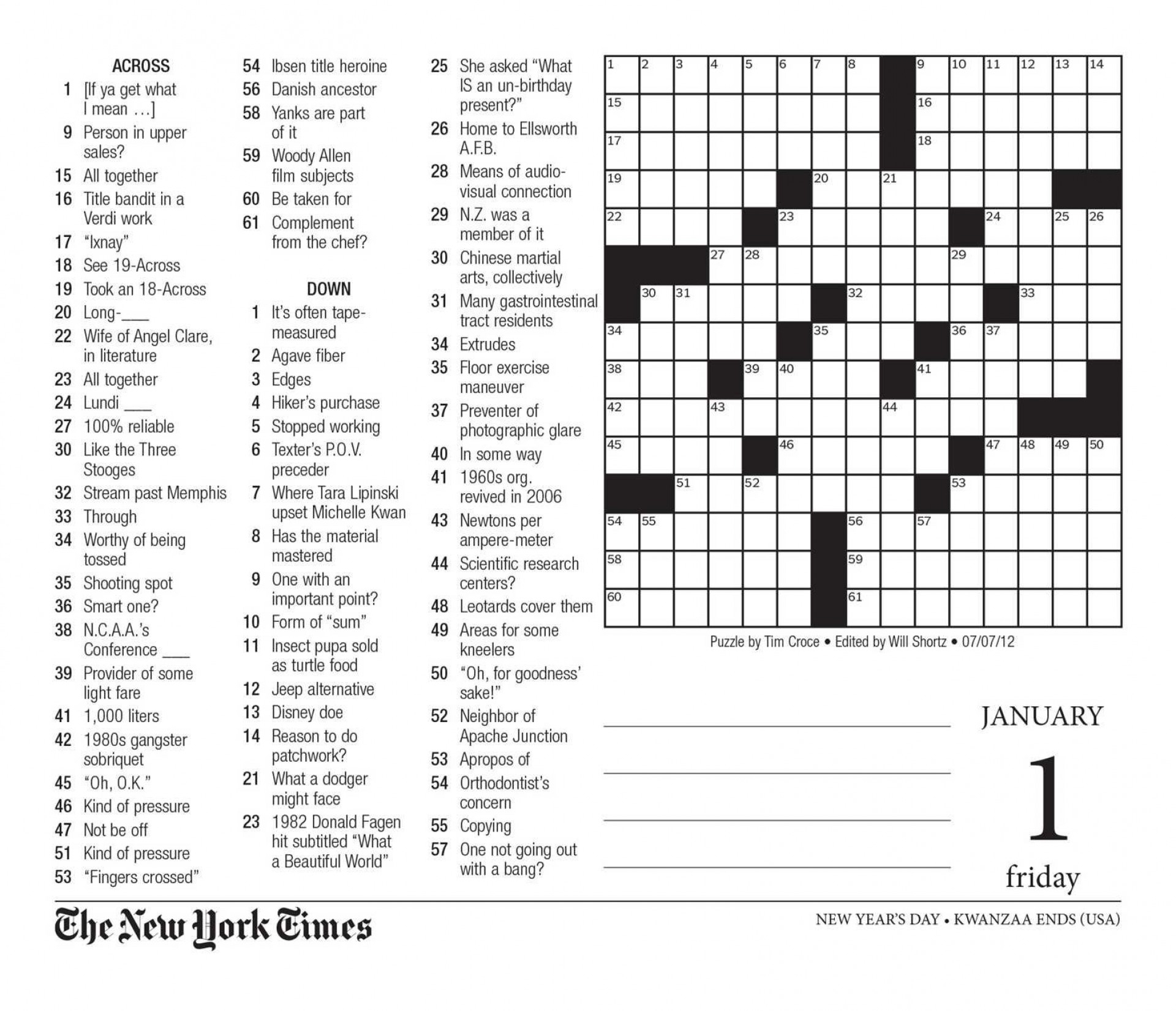 Large Print Crossword Puzzles Printable