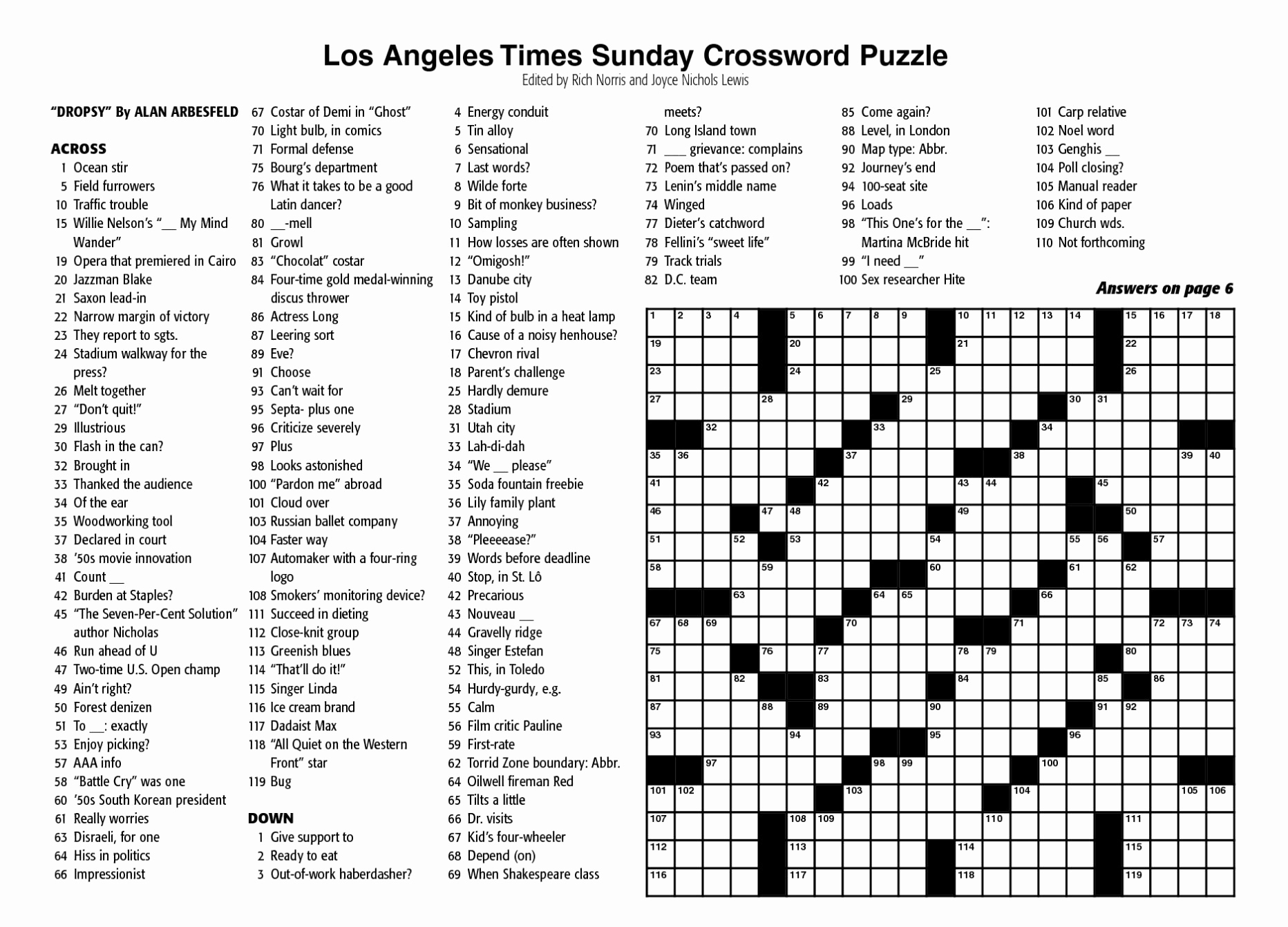 Printable Crossword Puzzles May