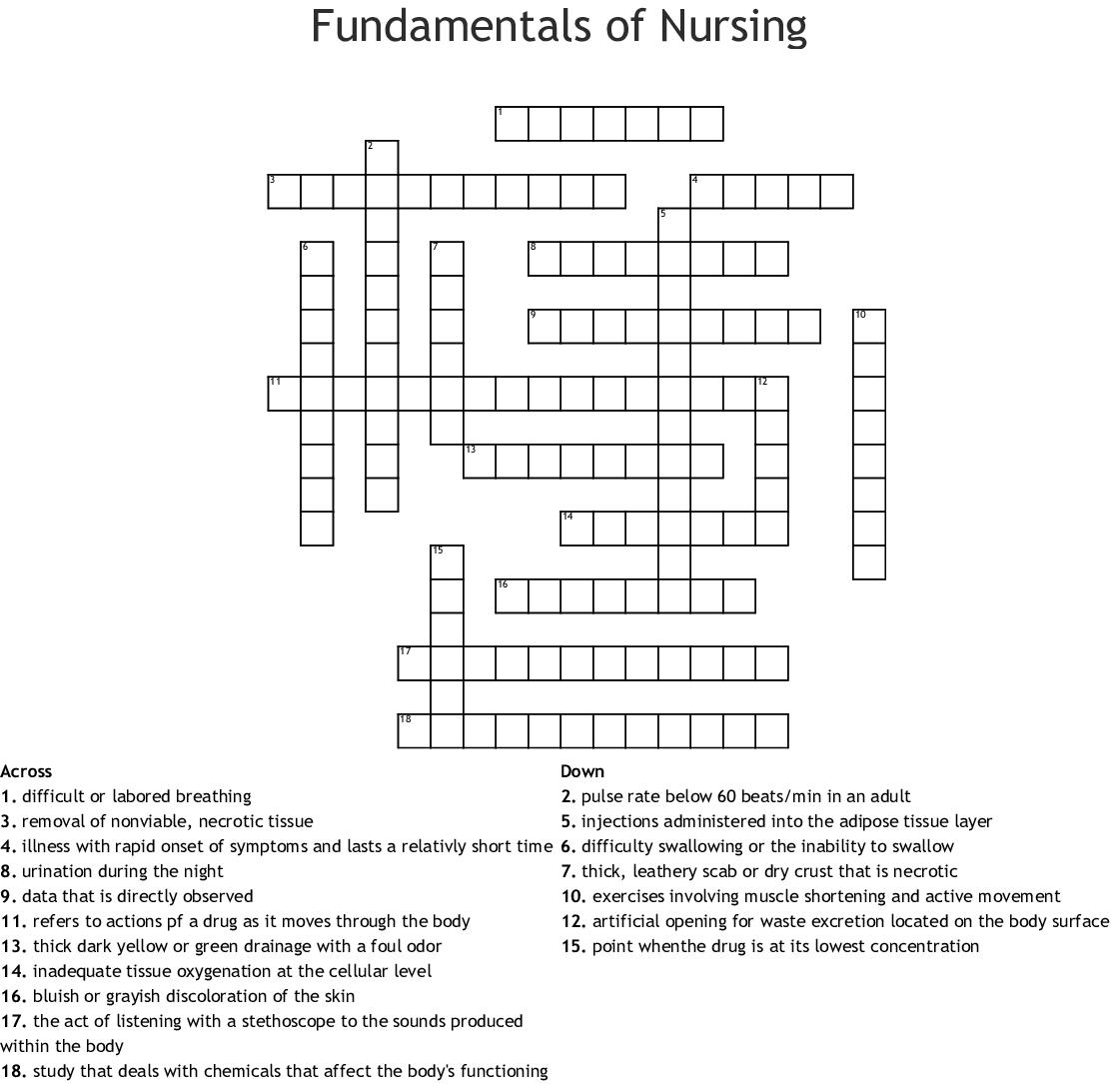 Printable Nursing Crossword Puzzles