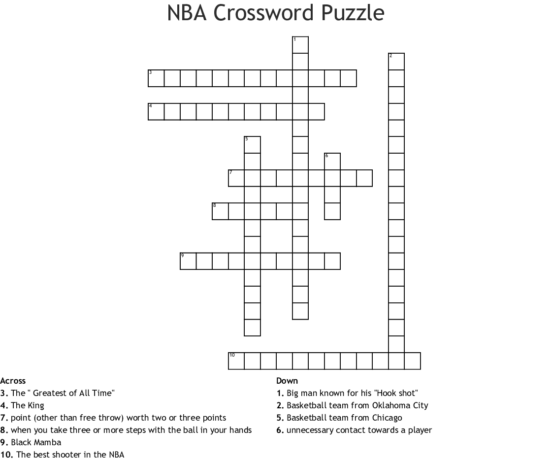 Printable Basketball Crossword Puzzles