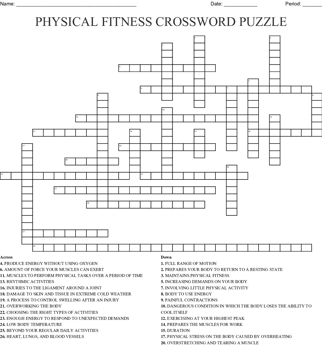 Printable Wellness Crossword Puzzles