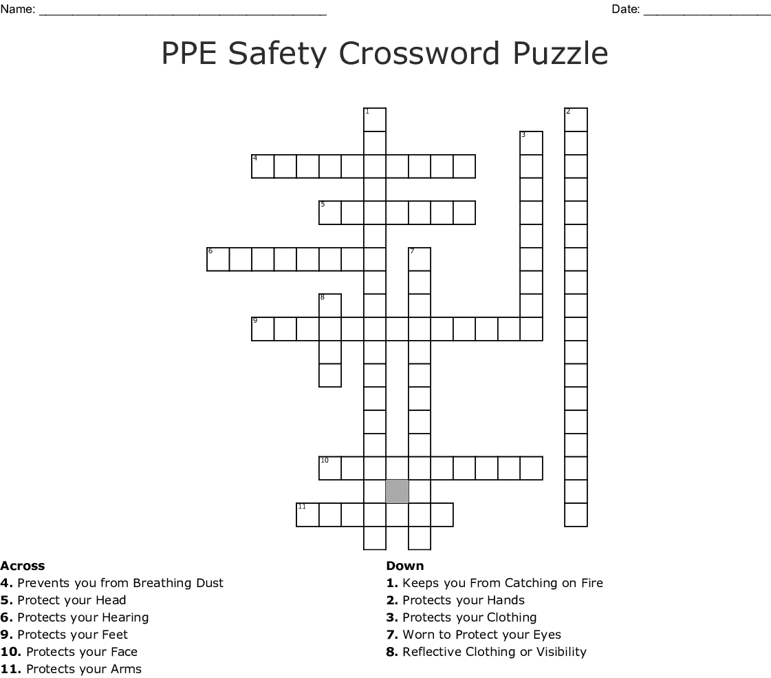 Fire Safety Crossword Puzzle Printable