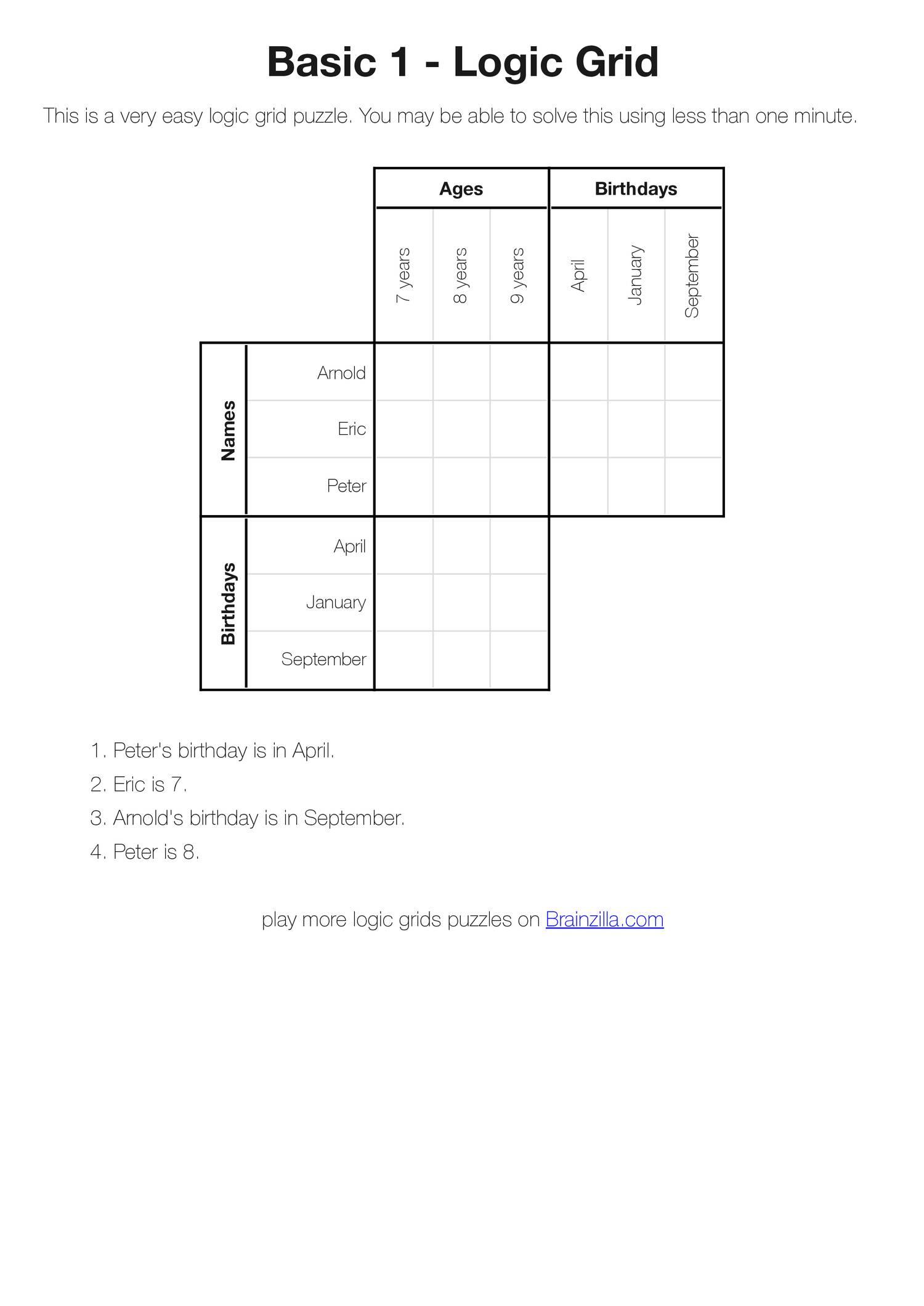 Printable Deduction Puzzles